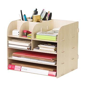 Organizador de escritorio de madera, estantería de almacenamiento ...