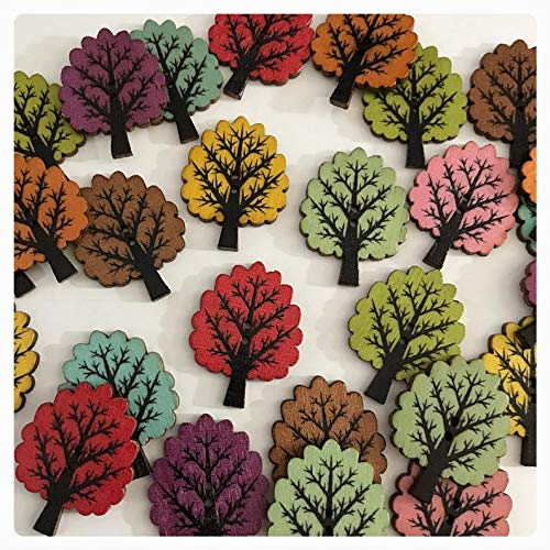 9 or 18 Tree buttons, random mix large wooden tree buttons, wood buttons, scrapbooking, sewing, crafts 32mm 1 1/4' 32 mm big painted tree