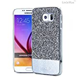 S6 Edge Case, LittleMax(TM) Luxury Diamond Hard Back Case [Scratch Free] Leather Bling Bumper with Shiny Rhienstones Cover Case for Galaxy S6 Edge **Free Cleaning Cloth,Stylus Pen (#1 Silver)