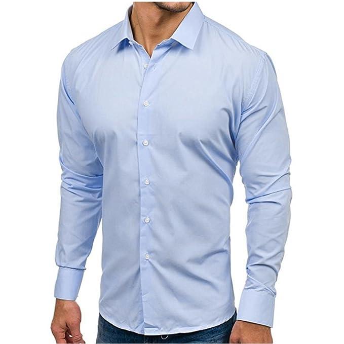 66788f4288aba3 CLOOM Camicetta Uomo Manica Lunga, Camicie Casual Uomo Maniche Lunghe  Pulsanti Camicie Elegante Slim Fit Manica Lunga Sartoriale Classica  Camicetta Casual: ...