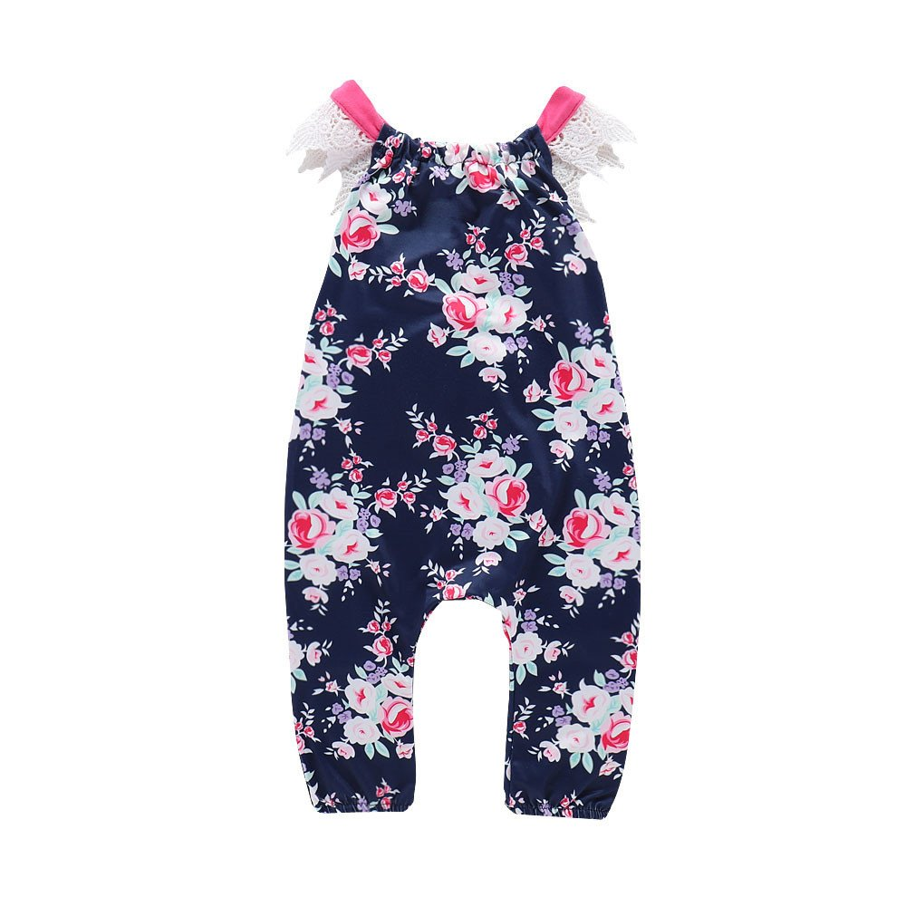 Baby Clothes for 0-24 Months, Hevoiok Newborn Infant Toddler Baby Girls Romper Cute Sweet Floral Print Lace Sleeveless Jumpsuits