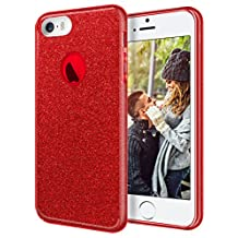 "iPhone 5S Case, iPhone SE Case, Coolden® Luxury Glitter Stylish Sparkle Bling Case Cover Ultra Slim Soft TPU Shining Fashion Clear Anti-Drop Case with Ring for 4.0"" iPhone SE/ 5S /5, Red"