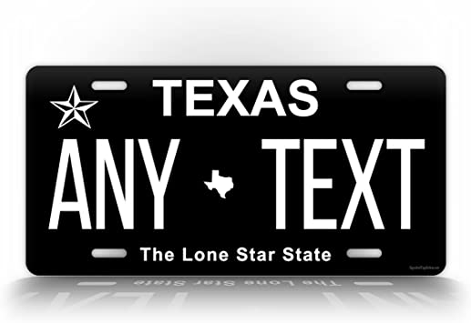 Amazon Com Signsandtagsonline Texas Inverted License Plate Customized Auto Tag Any Text Personalized Tx 6x12 Aluminum Sign Black Automotive