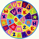 Champion Rug Kids / Baby Room / Daycare / Classroom / Playroom Area Rug Letters and Numbers Fun Educational Play Mat Non-Slip Back Bright Colorful Vibrant Colors (8 Ft X 8 Ft Round)