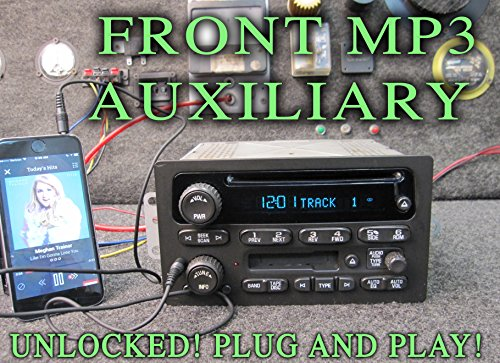 UNLOCKED! CHEVY GM GMC CD CASS PLAYER RADIO w/MP3 AUXILIARY - TRUCK SUV - 03 04 05 06 - SUBURBAN SIERRA TAHOE YUKON DENALI SILVERADO - PNs 10356164 15104156 - TAPE IPOD 3.5mm INPUT HOLE