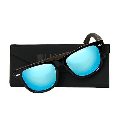 WOLA Sonnenbrille Holz - Bügel ICE wayfarer Stil polarisierte Holzbrille Damen L Herren M graue Linse 4MfAsbvMW8