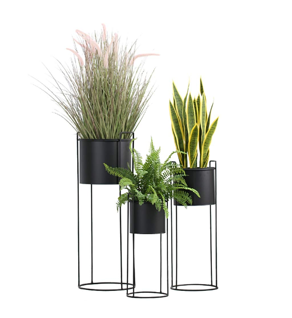 NDD 3-Piece Flower Stand Black Metal Plant Stand - Indoor Outdoor Home Decor Terrace Flower Stand