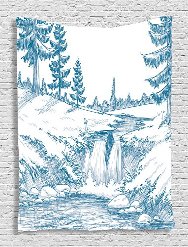 Ambesonne Rustic Scenic Decor Collection, Pencil Drawing Effect Illustrated Graphic Art Print, Bedroom Living Kids Girls Boys Room Dorm Accessories Wall Hanging Tapestry, Blue White