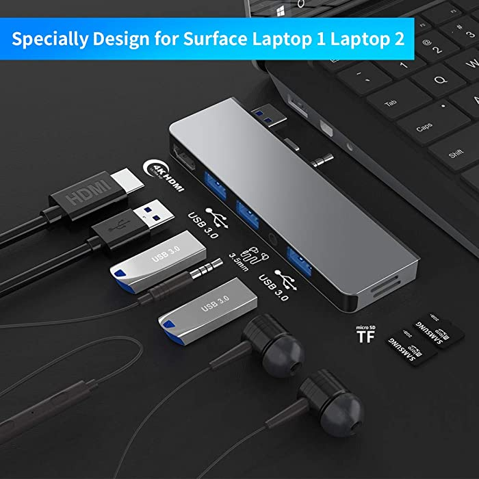 Surface Laptop 1 Laptop 2 USB Hub Docking Station with 4K HDMI Adapter, Audio Out Port, 3 USB 3.0 Ports Transport Combo Dock, Read SD&TF Card Slot for Microsoft Surface Laptop 1769 (1st Gen 2st Gen)