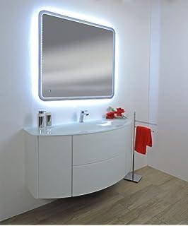 mobile bagno sospeso moderno touch bianco frassino misura cm 90 lavabo cristal senza specchio