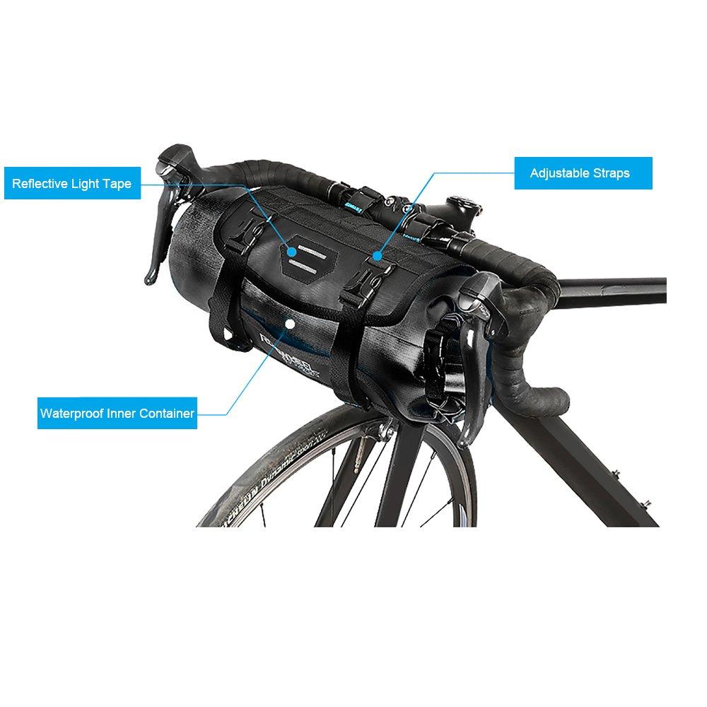 Roswheel 100/% Wasserdicht Fahrradlenkertasche Einstellbarer Volumen 3L bis 7L Fahrradtasche f/ür den Lenker Aufrollbare Lenkertaschen aus Polyester mit Fahrradfrontlicht Schnittstelle