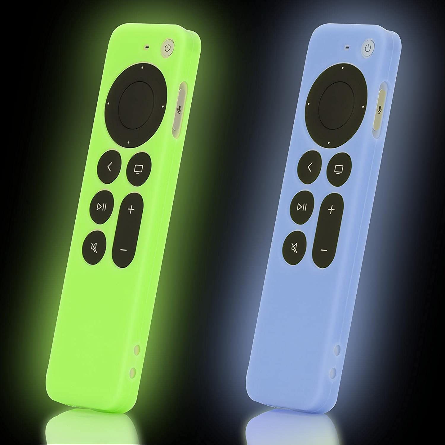 2-Pack Green and Blue Remote Case Cover Replacement for New Apple 4k TV 2021 Series 6 Generation / 6th Gen Remote Control, Silicone Siri 2nd Skin Glow in Dark with Lanyard - LEFXMOPHY