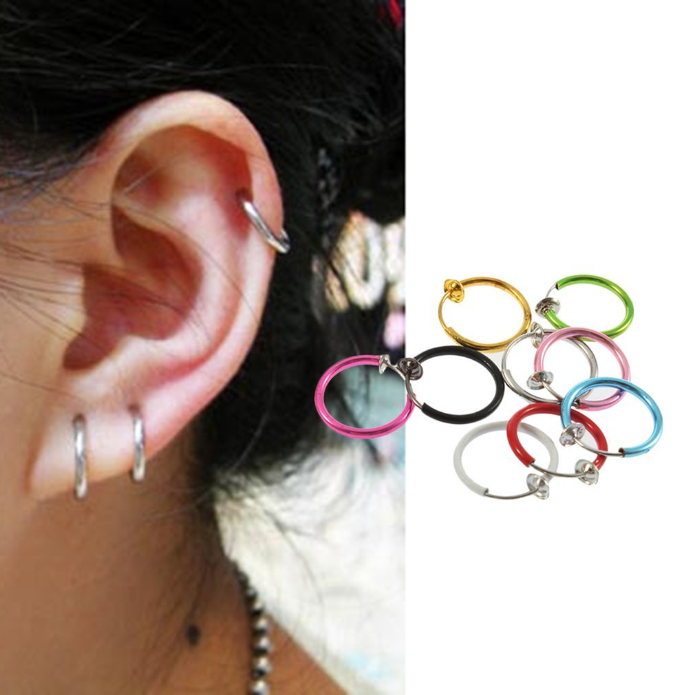 Multicolor Shemiqi Clip on Fake Hoop Boby Nose Lip Ear Ring Stud Earrings Punk Goth Piercing