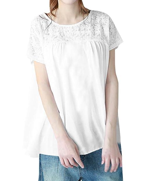 Onlyoustyle Verano Tops Mujer Casual Suelta Cuello Redondo Manga Corta Blusa Camisas Moda Encaje Costura Camisetas