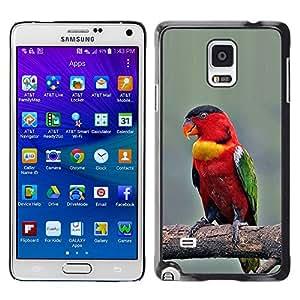 YOYOYO Smartphone Protección Defender Duro Negro Funda Imagen Diseño Carcasa Tapa Case Skin Cover Para Samsung Galaxy Note 4 SM-N910F SM-N910K SM-N910C SM-N910W8 SM-N910U SM-N910 - alas pico rojo loro pájaro ramificación
