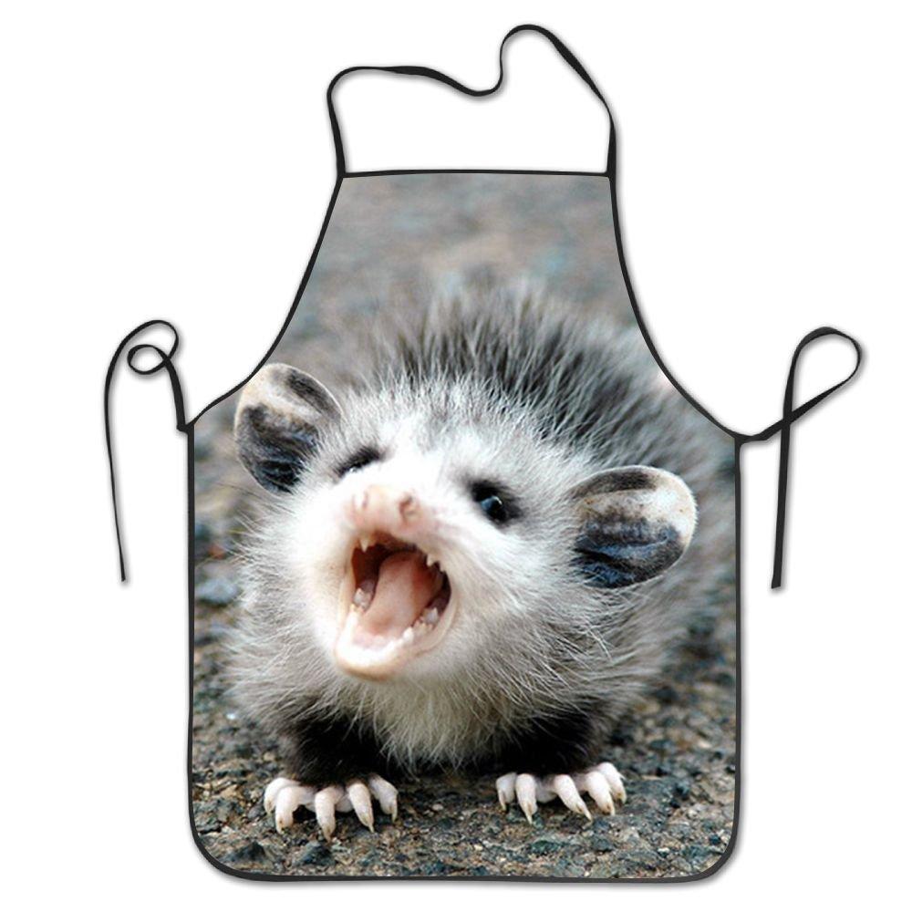 Baby Possum 調節可能なエプロン ポケット付き ブラック ポリエステル100% ツイルシーム製 調理 キッチン レストラン ユニフォーム エプロン 男女兼用   B07DWSPLH3