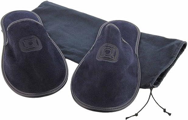 Zapatillas de viaje en piel serraje con funda de tela Talla: M Color: MARINO: Amazon.es: Zapatos y complementos