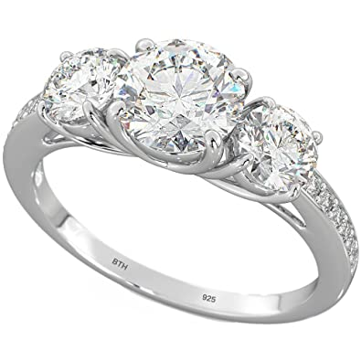 Ladies Ring - 925 Sterling Silver 3 Stones Luxury Wedding Engagement Band Ring NmCRON