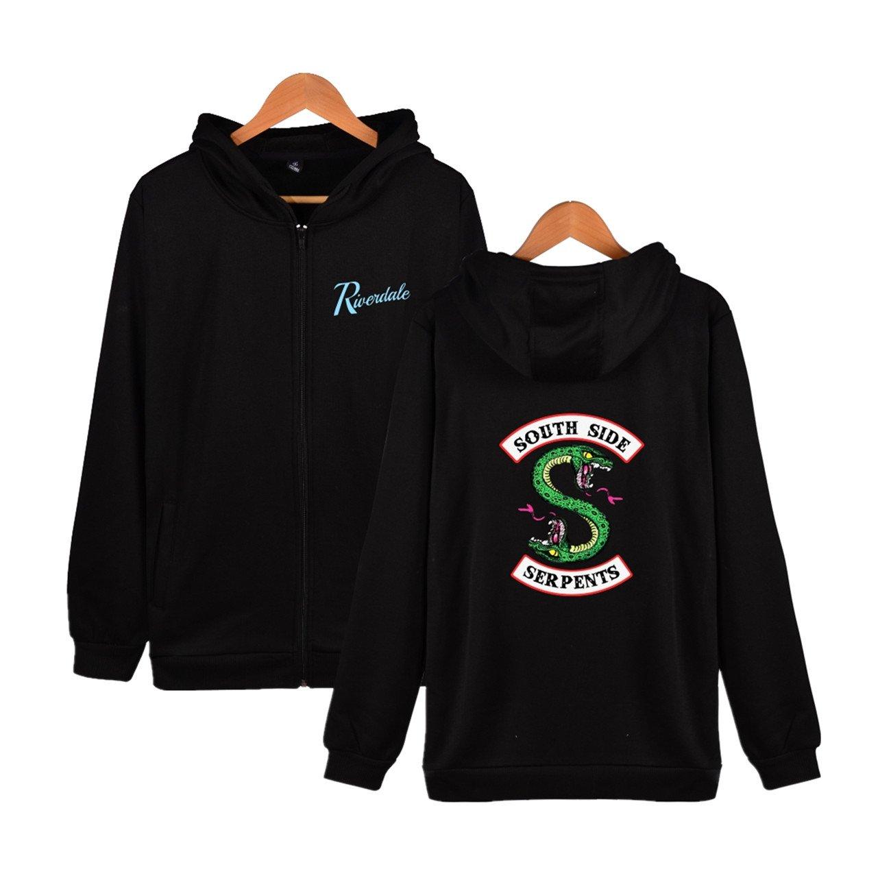 SERAPHY Unisex Riverdale Hoodie Southside Serpents Printed Outerwear Zipper Jacket Sweaters-Black-M
