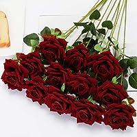 Floweroyal 12pcs Artificial Roses Velvet Flowers with Long Stem Fake Roses Bouquet DIY for Home Garden Wedding Decor…