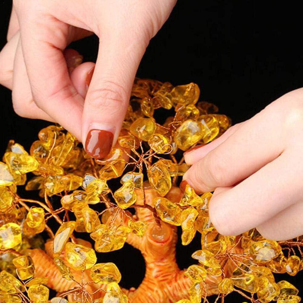 Arbre Porte-Bonheur Chinois Feng Shui pour la Chance Yunt-11 Arbre de Feng Shui Richesse et prosp/érit/é-Home Office Decor Cadeau Spirituel Arbre de la Vie de Cristaux Jaunes 18 * 15 * 15CM