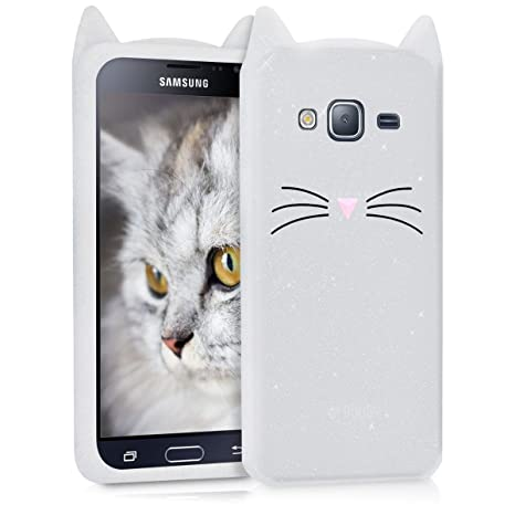 factory outlet detailed look cheap kwmobile Glitter Cat Silicone Case for Samsung Galaxy J3 (2016) DUOS - Soft  Silicone Gel Protective Cover with Cute Design