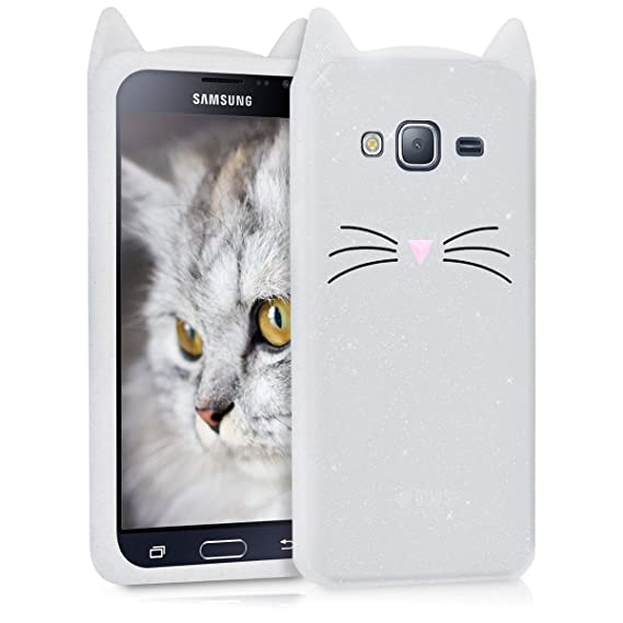 superior quality 27cf0 87b9f kwmobile Glitter Cat Silicone Case for Samsung Galaxy J3 (2016) DUOS - Soft  Silicone Gel Protective Cover with Cute Design