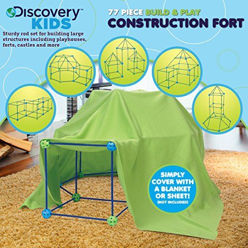 Good Discovery Kids Building Tent 77 Piece Construction Fort Kit For