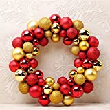ARCCI 16 Inch Christmas Ball Wreath 56 Shatterproof Ornaments, Front Door Window Hanging Christmas Decorations Balls, (Gold/Red)
