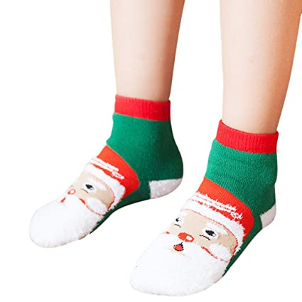 Zoylink Calcetines De Navidad para Niños Cálidos Calcetines De Invierno Lindo árbol De Navidad De Santa