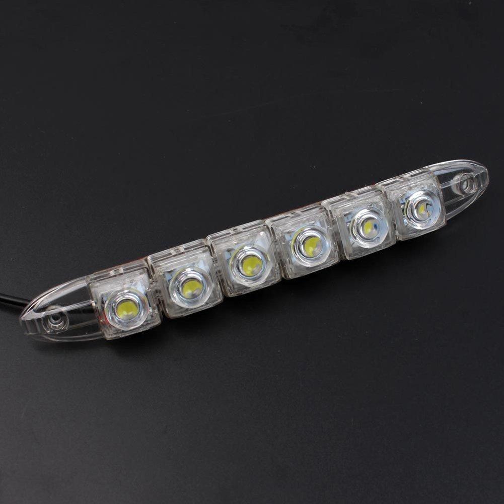 TABEN 6 LED de alta potencia LED luces de circulaci/ón diurna l/ámpara de conducci/ón universal ajuste LED luz antiniebla de coche juego de 2 piezas