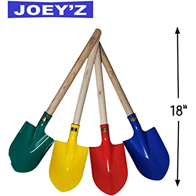 "JOEY'Z 18"" Heavy Duty Wooden Kids Sand Beach Shovel with Plastic Spade & Handle - Colors May Vary (1 Pack - 18"" Shovel with Handle, Assorted Colors): Toys & Games"