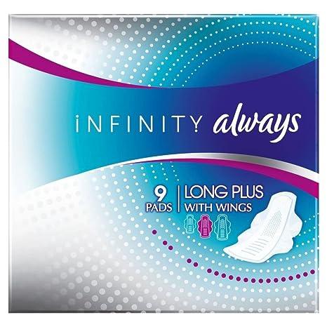 Always Toallas Sanitarias Infinito Largo Más Con Las Alas (9) (Paquete de 2