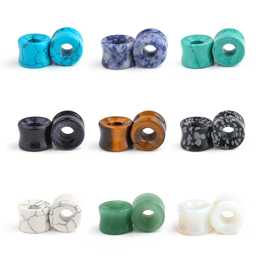 Ruifan 9 Pairs Set Natural Mixed Stone Saddle Ear Plugs Stretcher Expander Tunnels Gauges Piercing Jewelry 00g(10mm)