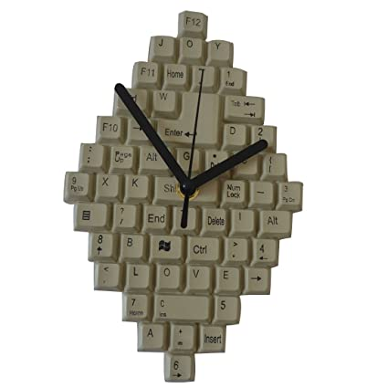 Giftgarden Home Office Wall Clocks Computer Keyboard Creative Art Clock For  Friend Gifts