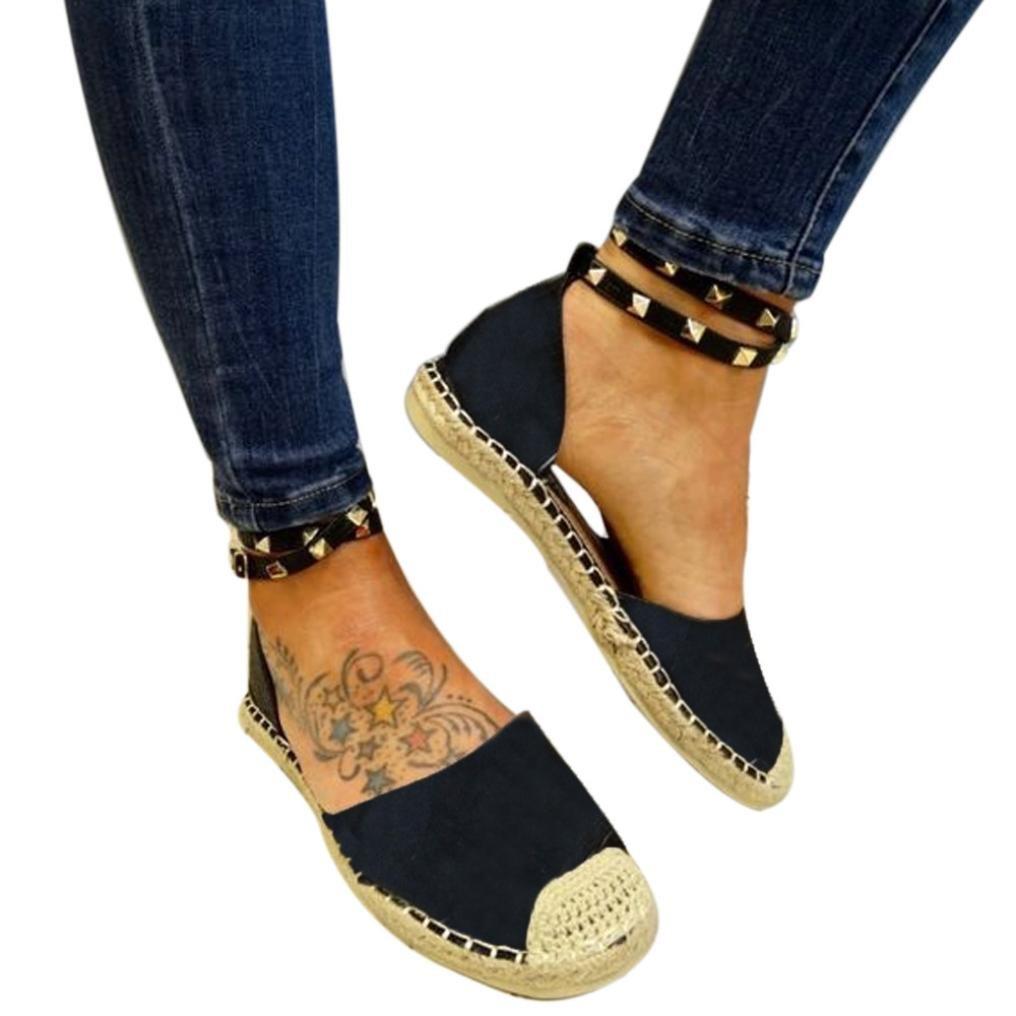 Mode Dame Schuhe, Frauen Runde Flache Freizeitschuhe Niet Dekorative Bandage Sandalen  38 EU|Schwarz