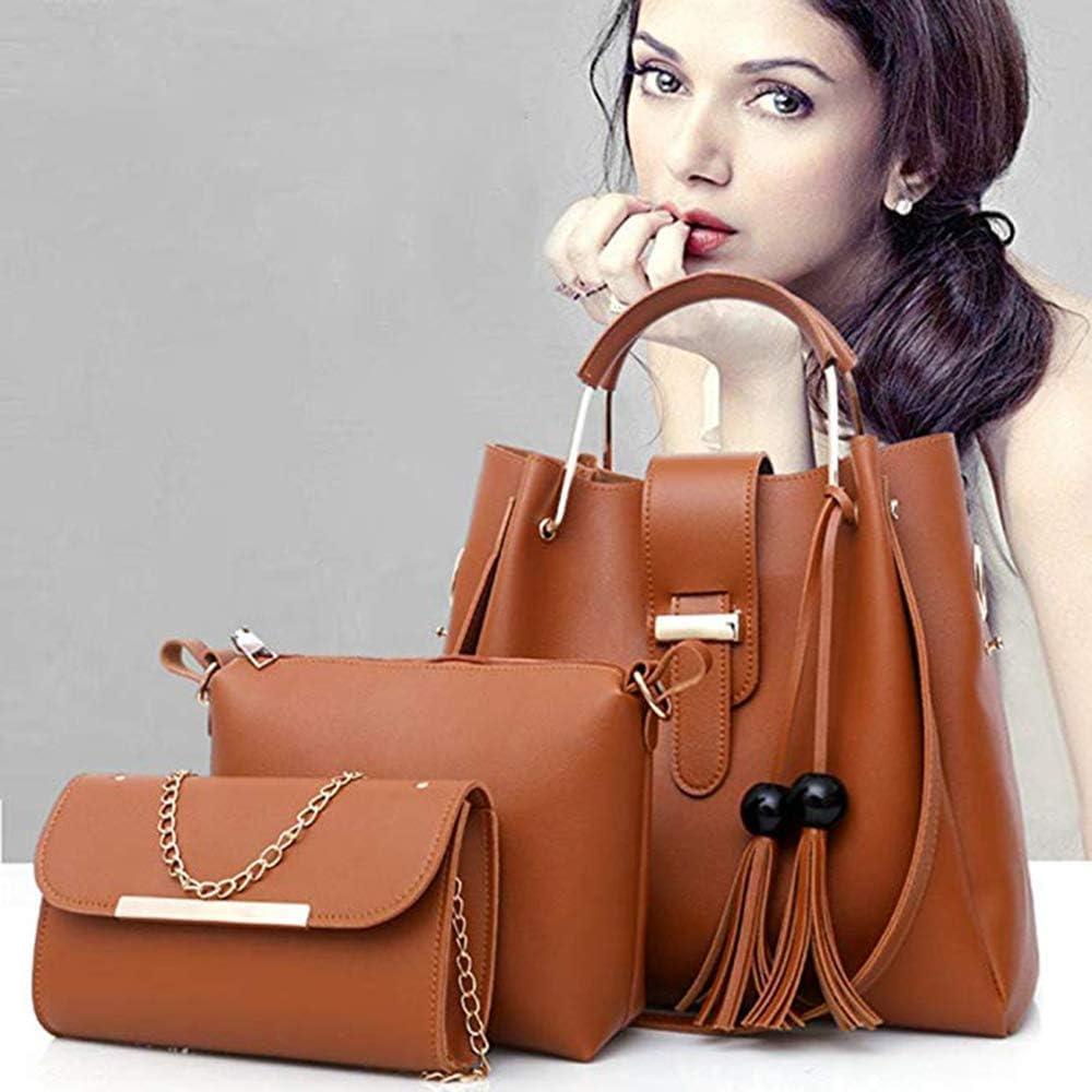 Women 3 Piece Gift Handbag Shoulder Tote Bag Crossbody Wallet Casual Backpack