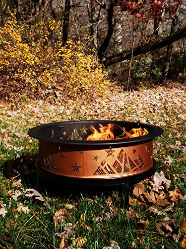 """Catalina Creations AD366 26"""" Round Copper Colored Accented Cauldron, Black - STURDY ELEGANCE: 14"""" Deep x 26"""" Diameter Made with dependable sturdy metal - perfect for larger fires. Comes with three """"4"""" Legs - weighs 8. 8 lbs. ATTRACTIVE DESIGN: This large fire pit has copper colored accent - a welcome addition to any backyard, patio, or porch. FIRE SAFETY: Fire pit includes mesh spark screen with a decorative lip A handle for added safety and beauty - the screen lifting tool provides safe and easy access during a fire. - patio, outdoor-decor, fire-pits-outdoor-fireplaces - 61R5F7enPzL -"""