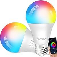 ANTELA Bombilla Inteligente LED E27 Wifi 9W Compatible Con Google Home/Alexa, Bombilla RGB( 2700K-6500K)Luces Colores…