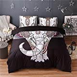 (#004) Mandala Comforter Bedding Cover Colorful Elephant Boho India Duvet Covers Set