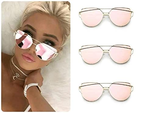 Image Unavailable. Image not available for. Colour  ROSE GOLD Cat Eye Women  Ladies Sunglasses Mirrored Aviator ... bc727364f