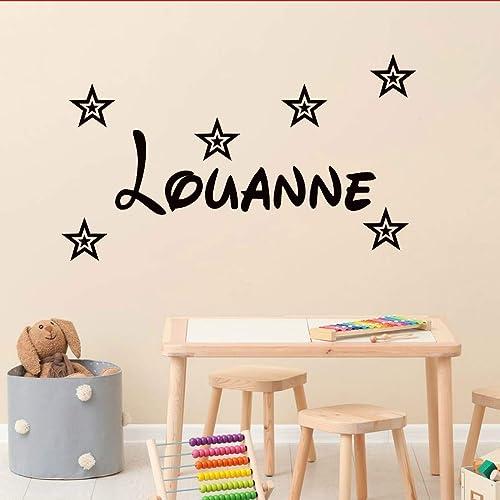 Stickers mural prénom disney avec 6 étoiles. Décoration mur chambre  enfant/bébé. 14 couleurs au choix.