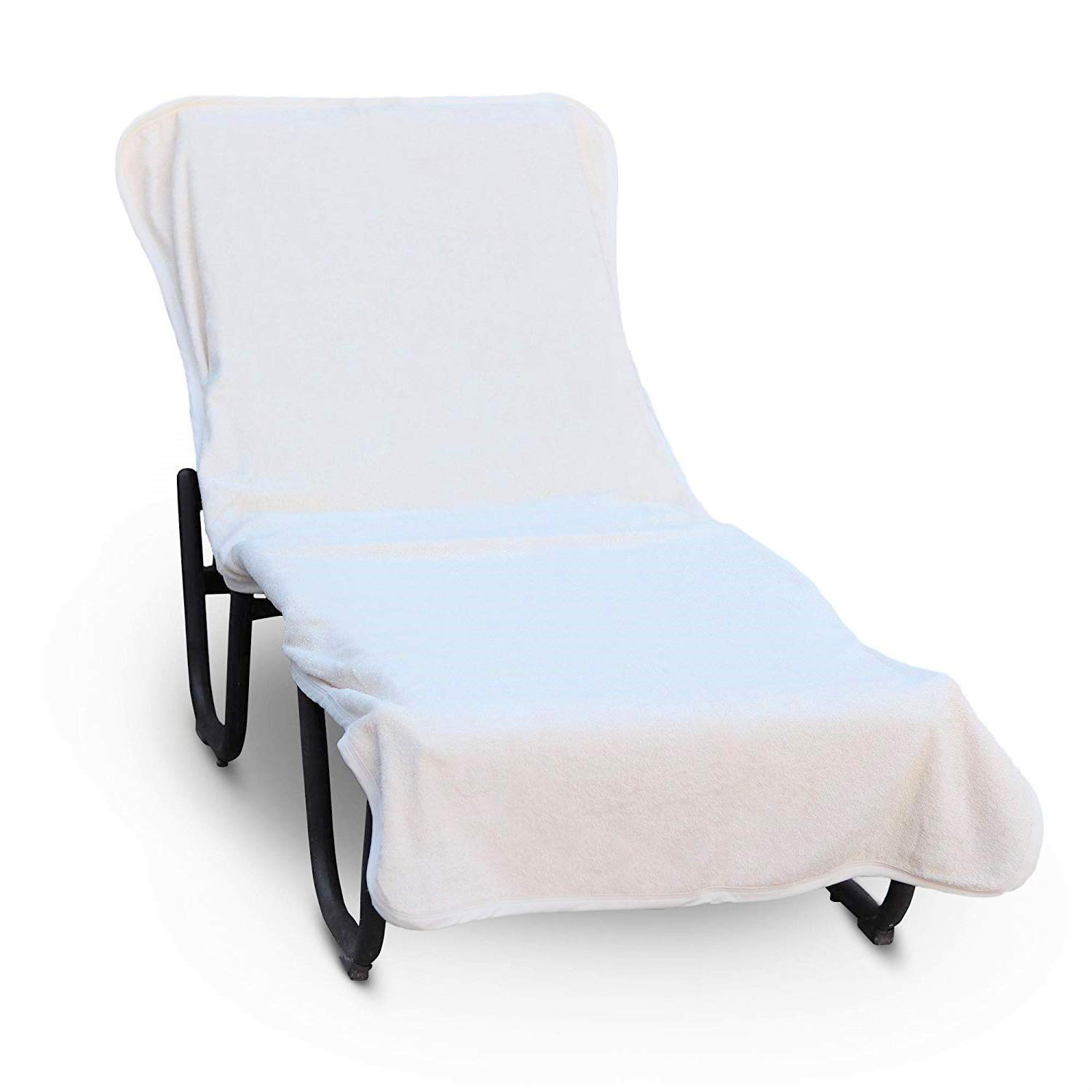 Luxury Hotel & Spa Towel Pool Chair Cover 100% Cotton, Soft Ring-Spun Cotton,Standard Size, White