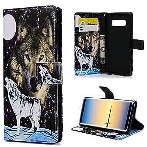 Nota 4caso, Galaxy Note 8tipo cartera Carcasa, YOKIRIN diseño de patrón de lobo de cuerpo completo Funda de piel sintética cartera tarjetero soporte funda para Smasung Galaxy Note 8