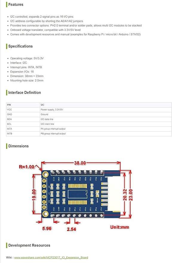 MCP23017 serial Interface module IIC I2C 16-bit I//O expander pins 10mh HO F4