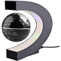 Zibuyu LED World Map Decoration Magnetic Levitation Floating Globe Earth Ball US Plug (17.3x18cm, Black)