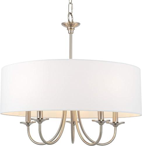 Kira Home Quinn 21″ Traditional 5-Light Chandelier/Adjustable Chain Link Hanging Light White Linen Drum Shade