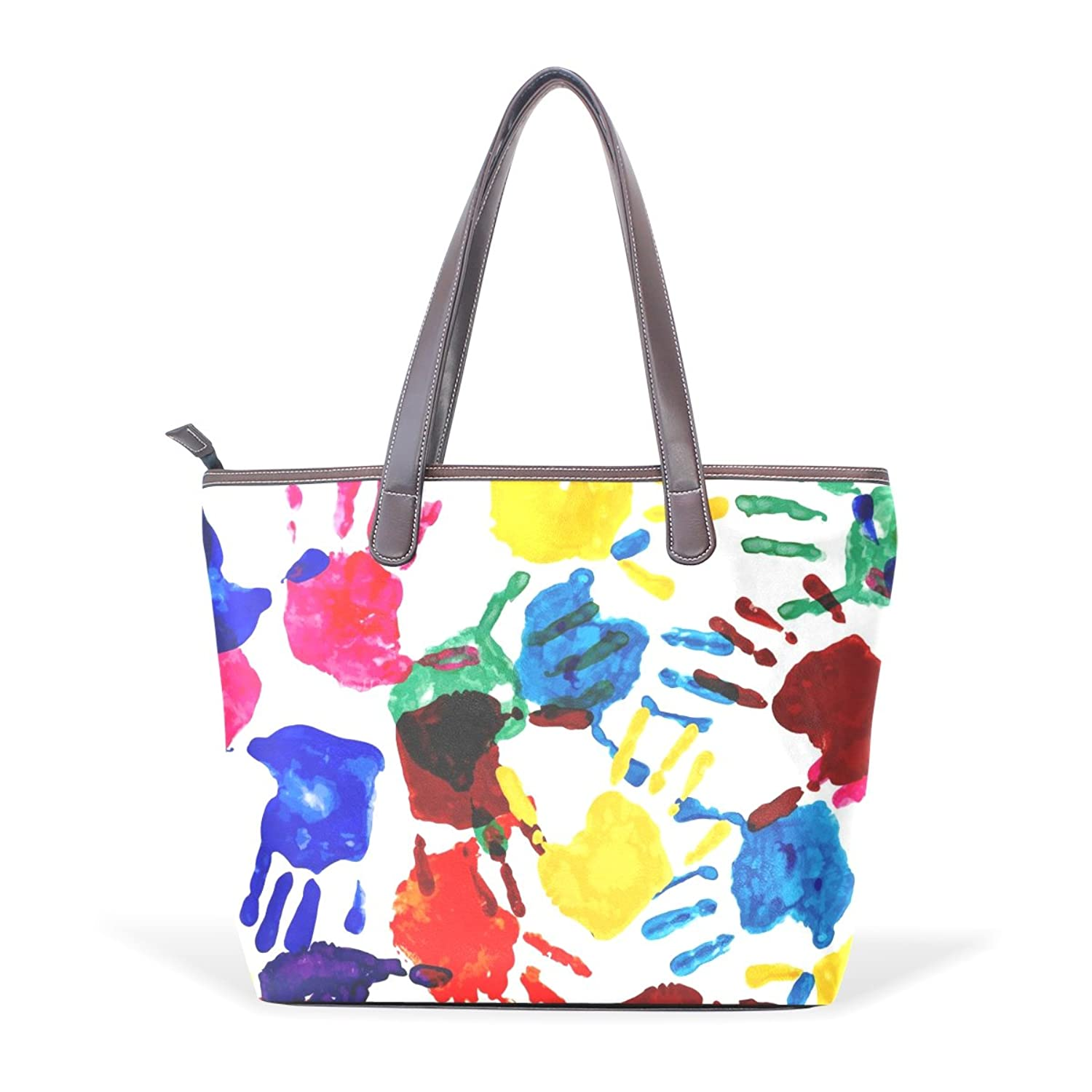 Womens Leather Tote Bag,Art Pigment Graffiti Finger,Large Handbag