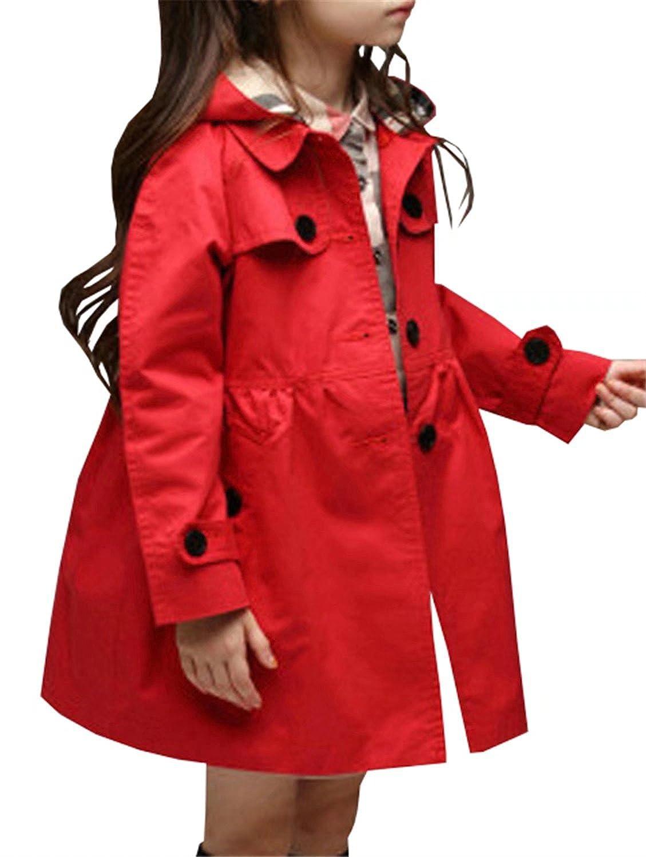 Betusline Kids Little Girls Single Breasted Trench Coat Hoodie Dress Outerwear