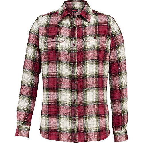 Wolverine Women's Aurora Two-Sided Brushed Flannel Shirt, Red Plaid, - Apparel Red Aurora